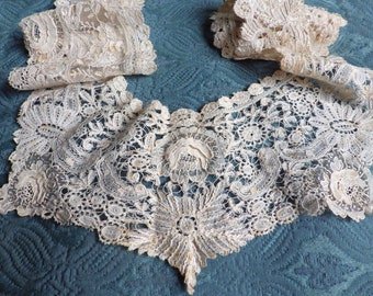 Antique Belgian DUCHESSE Point De GAZE BRUSSELS Lace 19th C Handmade Modesty Panel Fichu Collar Layered Roses Bride