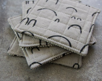 Gray and Black Modern Quilted Coasters - Set of 4