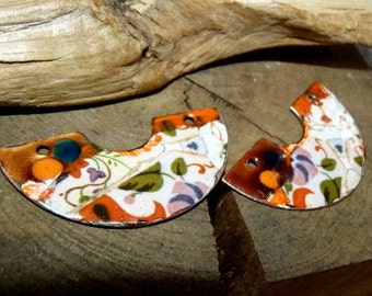 Bohemian charm enamelled copper 45 x 20 mm-copper charms and trinkets half moon-Abstract-Handmade