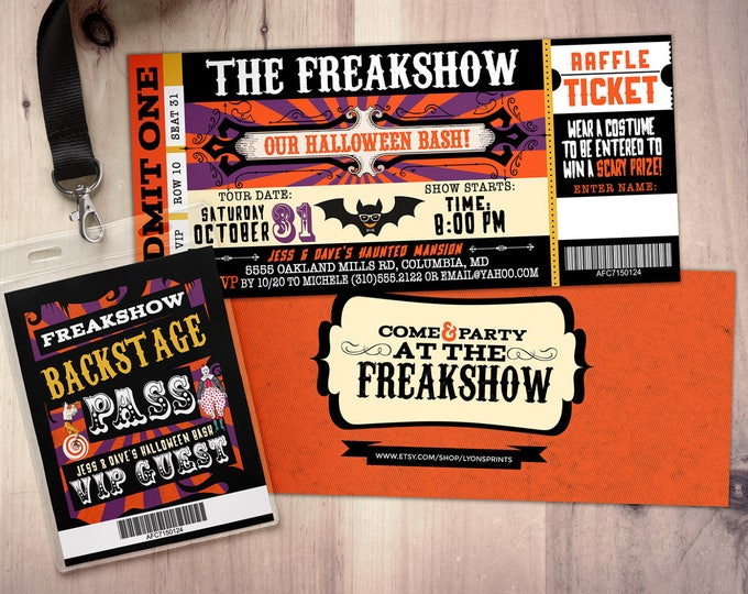 Carnival, Freak show, Halloween invite, Halloween party, Halloween invitation, Halloween, circus, vintage circus, carnival