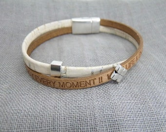 Bracelet Leather and Cork * love life & enjoy every moment *-Zamak-magnetic closure-gift-