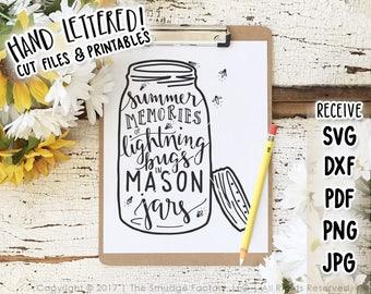 Mason Jar SVG Cut File, Fireflies, Lightning Bug, Mason Jar Cutting File, Hand Lettered, Hand Drawn, Silhouette, Cricut, Summer Original Art