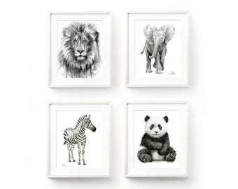 Safari Animals Nursery Wall Art Jungle Animal Decor Nursery Animal Art Prints Black and White Nursery Print Set Lion Zebra Panda Elephant