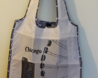 Chicago reusable fold up grocery  bag