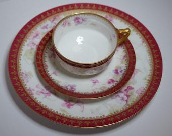 Vintage Antique French Tea Cup Set Limoges Red Tea Cup Trio Haviland Limoges Tea Set Porcelain Tea Cup Wedding Table Bridal Tea Party