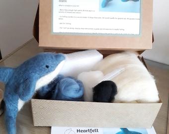 Diy Needle felted Dolphin Kit - dolphin Felting Kit,  Needle Felting Kit,  DIY Kit,  Craft Kit,  Felting Supplies,  Needle Felted