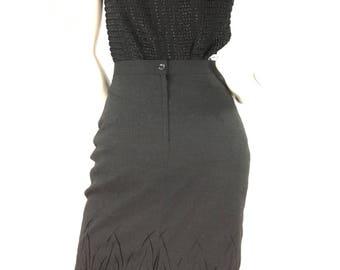 Vintage 80s grey pencil skirt, 1980s Concept Valia skirt