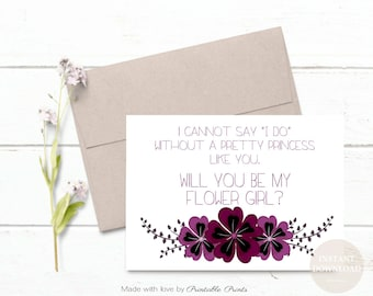 Will You Be My Flower Girl Proposal PLUM BURGUNDY Wedding Printable Cannot Say I Do Pretty Princess  5x7 Instant download Digital File