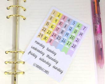 Pastel Date Cover Stickers; Bullet Journal Stickers; Calendar Stickers; Bujo stickers; Date Cover Ups; Mini Happy Planner Stickers