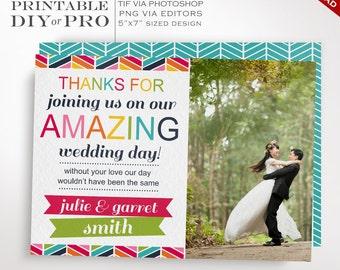 Wedding Thank You Template - Rainbow Chevron Wedding Photo Thank You Notes - Printable DIY Rainbow Wedding Editable Custom Photograph