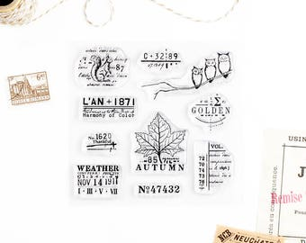 Clear Stamps - Autumn, The Seasons Collection for Paper Crafts, Scrapbooking, Art Journaling, Stationery, Traveler's Notebook 4x4 in