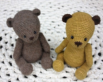 Amigurumi Crochet Teddy Bear PATTERN, 4-way jointed and 5-way jointed Teddy PDF Tutorial- Villem and Marta - In English - Digital Download
