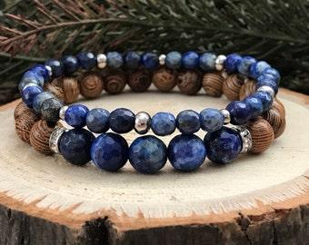 Lapis Lazuli Gemstone Bracelet Duo