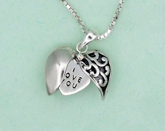 Secret Message Heart Necklace Sterling Silver I Love You Charm Pendant Box Chain