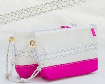 Pink Wristlet, Recycled Sail Bag, Eco Friendly, Sail Cloth, Hot Pink, Vegan Bag