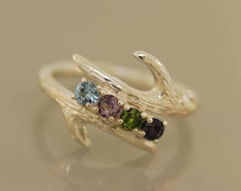 Antler Family Ring,twig ring, mothers ring, family ring, sterling branch ring, sterling twig ring,