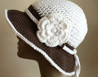 Women's crochet sun hat, floppy beach hat, brim, COTTON, White and brown, packable,  removable flower, crochet cord, Ready to ship.  S121