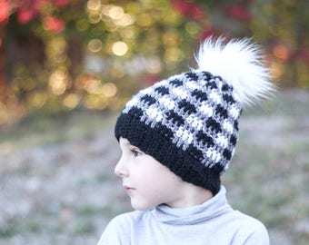 Checkered Pom Pom Beanie/ Black beanie/ Pom Pom Beanie/ Checkered hat/ Boys winter hat/ Girls winter hat/ Boys hat/ Crocheted hat/