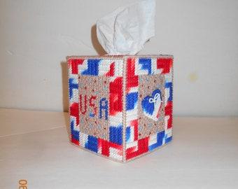 Patriotic Tissue box cover, USA, Red White & Blue
