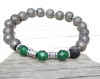 Men's Emerald Lava Bracelet, May Birthstone, Gemstone Bracelet, Natural Lava Jewelry, Father's Day Gift, Gift for him