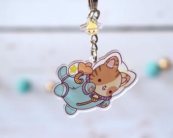 Kawaii Astronaut Space Cat Nugget Acrylic Charm Keychain