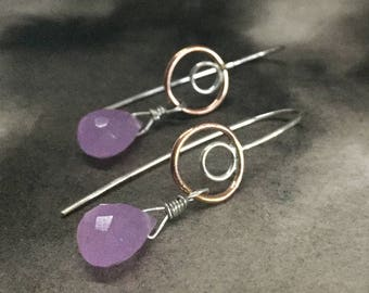 Mauve chalcedony, rose gold and sterling silver earrings, simple, minimalist earrings, mauve violet drops, handmade forged silver ear wires