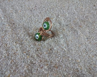Handmade Copper Wire Ring, Copper Ring, Wire Ring, Ring, Evil Eye Ring, Green Ring