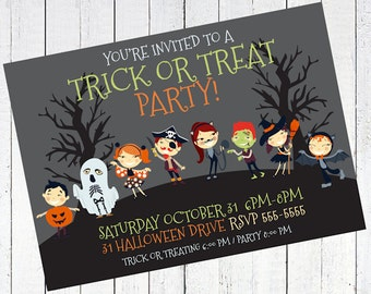 halloween invitation party trick or treating - Trick or Treat Halloween Party Invitation V2