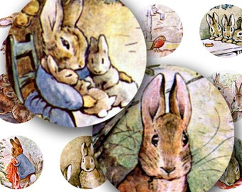 Sweet Bunnies from vintage Beatrix Potter Peter Rabbit in 1 inch circles -- piddix digital collage sheet no. 243