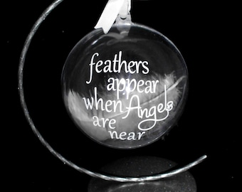 Personalised Memory bauble with stand and white feather inside. Feathers appear when angels are near. memorial gift. bereavement present