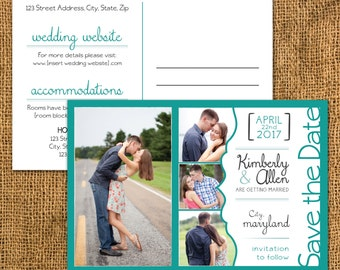 Rustic Picture Collage Wedding Save the Date Invitation, Postcard, Custom Digital Download File, Printable