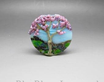 Tree of Life, pink - Lampwork Focal Bead