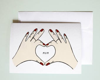 Love heart hands // customised greetings card // stationery // Mother's Day card // illustrated greetings card // name customisable card
