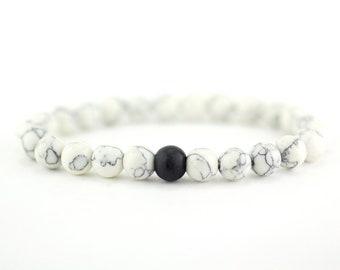White Howlite Bracelet + Black Bead, Bracelet Howlite, Mens Howlite, Bead Bracelet, Beaded Bracelet, Mens Bracelet, Men Bracelet, 8mm Bead