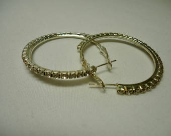 Silver Medium Hoop Earrings, Rhinestone Hoop Earrings, Silver Plated Hoop Earrings, Unique Earrings, Mothers day gift, Free Shipping to Can.