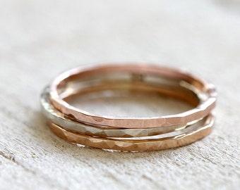 Stacking rings 14k gold stacking rings solid 14k gold