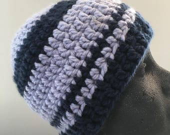 Navy and light blue crocheted adult beanie