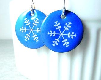Winter Snowflake Earrings, Hanukkah Earrings, Blue White Enamel Earrings, Christmas Earrings Holiday Jewelry Simple Everyday Rustic Earrings