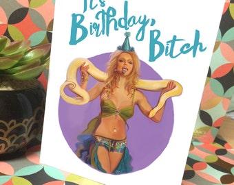 Britney Spears Art -Handmade Designed Greeting Birthday Card