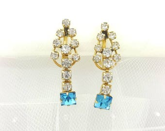 Gold Filled Screw back earrings Signed CM  Blue Shimmer trembler Fancy Art Deco