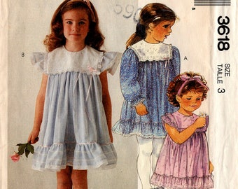 1988 Uncut GIRLS' DRESS PATTERN McCall's #3618 Size 3 Ruffles & Lace Feminine Frilly Easter/Spring Fashions Vintage Sewing