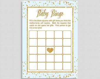 Blue and Gold Glitter Baby Bingo Game, Printable Blue and Gold Confetti Baby Shower Game, INSTANT DOWNLOAD