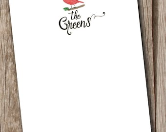 Personalized Notepad - Red Cardinal Bird with Name - Personalized gift for Christmas