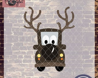 Christmas Reindeer Whimsy Truck with SVG, DXF, PNG, Eps Commercial & Personal Use