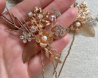 Bridal Hair Pins, Bridal Hair Accessories, Swarovski Ivory White Pearls, Peony Bridal Headpieces, Wedding hair clips hairpins