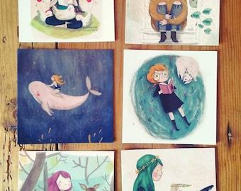 Postcards set of six pieces