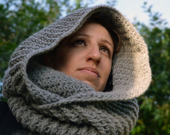 Slate grey cowl, winter crochet infinity scarf, winter hooded cowl, crochet snood