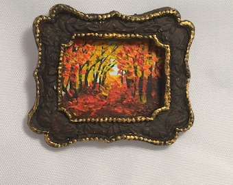 1/12 scale Miniature acrylic painted in hand moulded clay frame