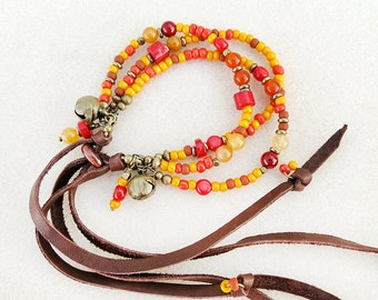 SALE, Multistrand Bracelet, Leather Fringe, 1970s Style, Earth Fire, Saffron Yellow, Red Coral, Orange, Hippie Chic, Handmade, Gift for Her