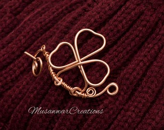Three leaf clover Shawl pin,copper wire swirl shape pin ,sweater brooch,.sweater brooch.Made to order